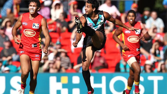 Port Adelaide's Danyle Pearce kicks a goal in the Power's 48-point win over the Gold Coast Suns. Picture: David Clark