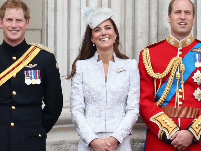 Prince Harry, Kate and Prince William at the Queen's birthday parade in 2014. Picture: Chris Jackson/Getty Images.