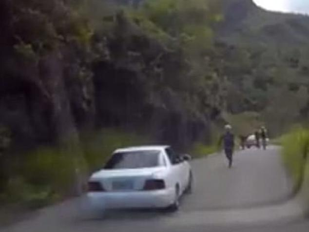 Video footage of an Australian family fleeing an armed holdup in Papua New Guinea. Picture: Facebook