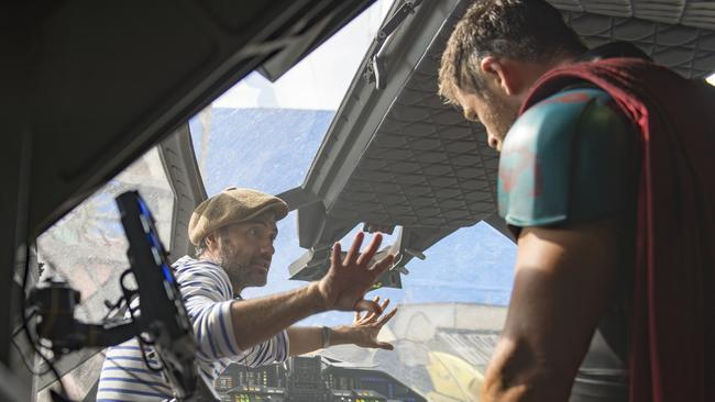 Behind the scenes on Marvel Studios' film Thor: Ragnarok. On the Gold Coast set with director Taika Waititi (left) and Chris Hemsworth (Thor) Photo: Jasin Boland. ©Marvel Studios 2017