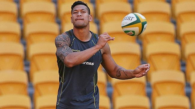 Israel Folau at a Wallabies training session at Suncorp Stadium in Brisbane. Pic Peter Wallis