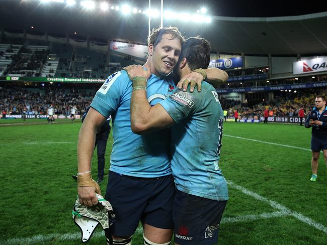 Stephen Hoiles and Ashley-Cooper after the sudden death semi final win against the Brumbies.