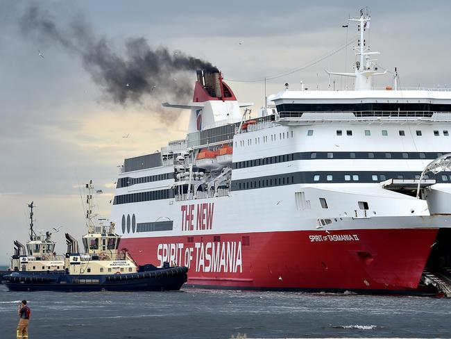 The Spirit of Tasmania after being swung around on her moorings. Picture: Jay Town