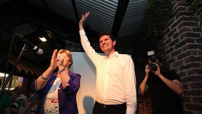Scott Ludlam and Greens supporters at the Oxford Hotel in Leederville.
