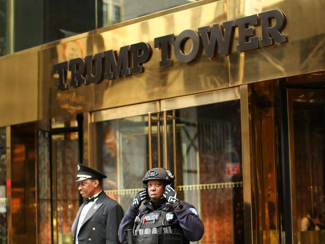 A police officer in front of Trump Tower in Manhattan in March. Picture: Spencer Platt.