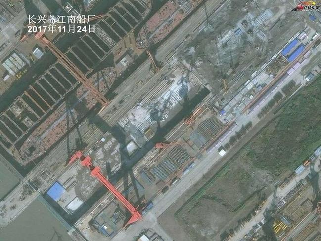This image, circulated on China's state-controlled Weibo social media platform, is said to show construction work of its third aircraft carrier at a Shanghai shipyard.