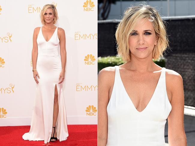 Kristen Wiig walks the red carpet at the 2014 Primetime Emmy Awards red carpet. Picture: Getty/AFP