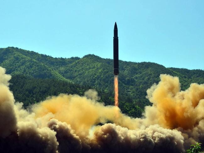 A picture released by the North Korean regime purports to show the launch of the intercontinental ballistic missile Hwasong-14. Picture: AFP