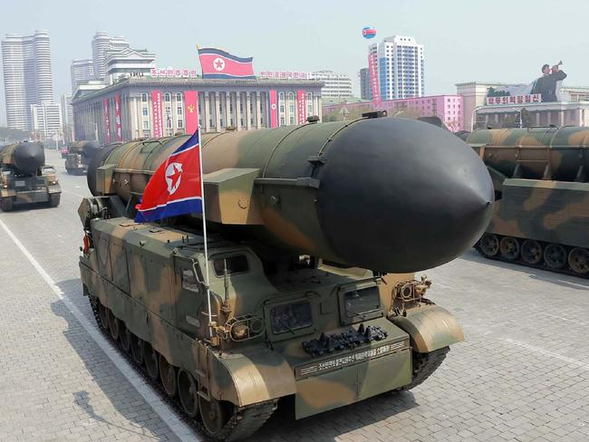 Korean People's Army ballistic missiles were on display during Saturday's parade. Picture: KNCA? AFP