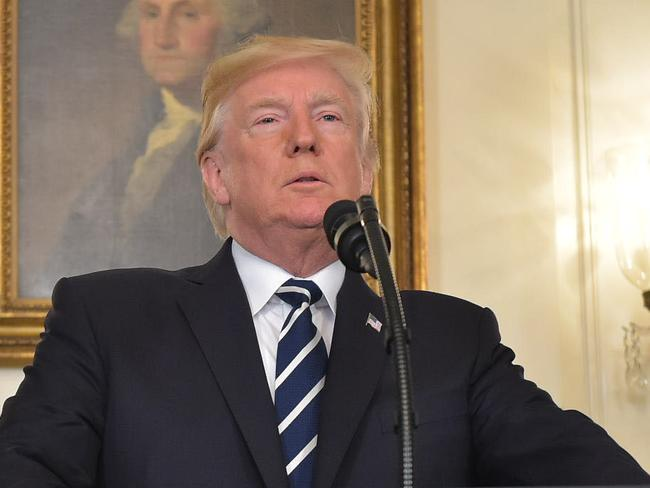 US President Donald Trump delivers a statement on the Las Vegas shooting from the Diplomatic Reception Room of the White House. Picture: AFP/Mandel Ngan