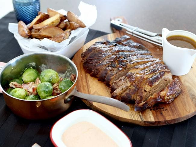 Steph and Dan's braised brisket, brussels sprouts, smoked potatoes and spiced yoghurt. Pic Mark Cranitch.