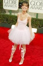 We all remember this one. Lara Flynn Boyle in her ballet inspired 2003 outfit. Picture: Kevin Winter/Getty Images