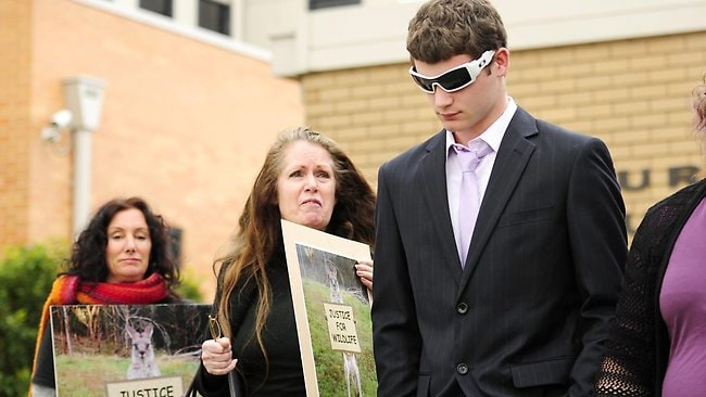 Appearance of three men in Seymour Magistrates Court accused of torturing and killing a young kangaroo. Animal rights activists Vicki Lloyd-Smith and Jane Heald verbally abuses Brett Saunders and his mother as they leave court. Picture: Stuart Walmsley