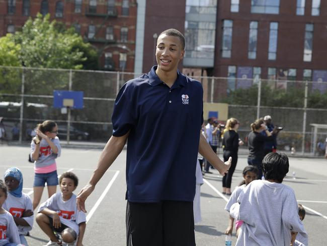 Flying high ... Australian NBA draft prospect Dante Exum has arms that just don't know when to quit. (AP Photo/Seth Wenig)
