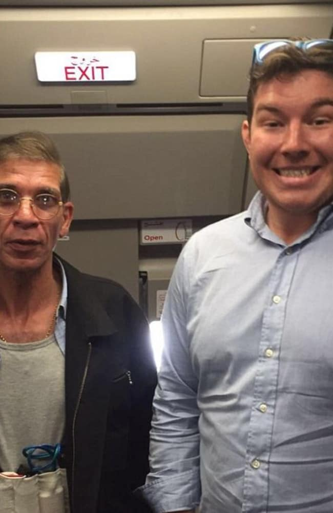 Ben Innes' photo with Seif Eldin Mustafa wearing his fake suicide belt on the hijacked EgyptAir. Picture: Supplied