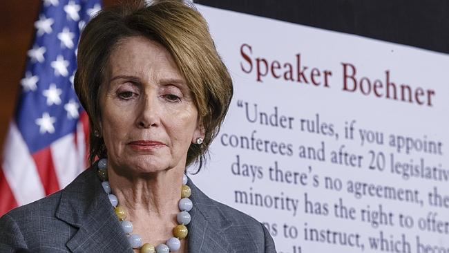 House Minority Leader Nancy Pelosi discusses the shutdown at a news conference in Washington. Picture: AP Photo/J. Scott Applewhite.