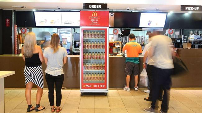 The Big Mac sauce fridge at the Railway Square McDonald's in Sydney.
