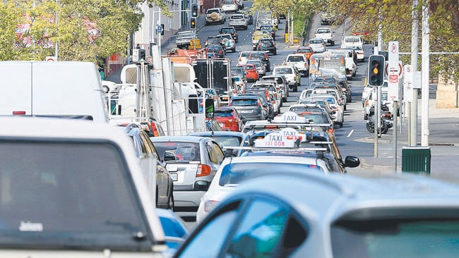 Getting around in Hobart's CBD was frustrating to say the least. Picture: SAM ROSEWARNE