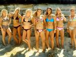 <p>Australia's rising female surfing stars: (l-r) Dimity Stoyle, Ellie-Jean Coffey, Laura Enever, Sally Fitzgibbons, Tyler Wright, Nikki Van Dijk and Phillippa Anderson. Picture: Mark Evans</p>