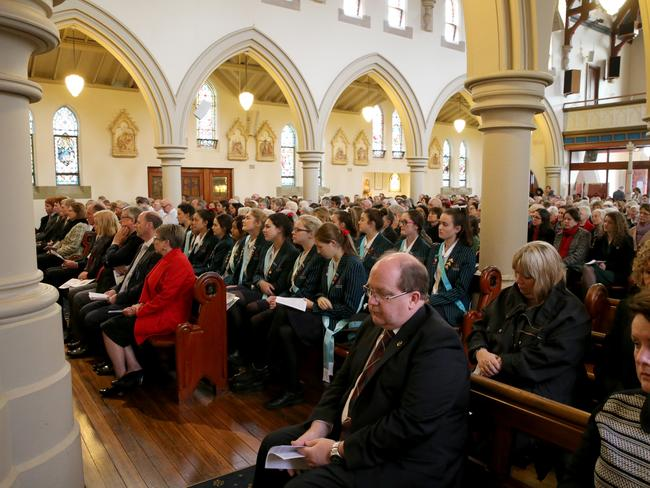 A community of friends, family, colleagues and students farewelled Sister Philomene Tiernan yesterday. Picture: John Tiernan