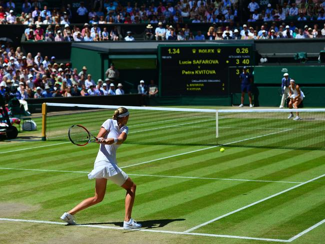 Petra Kvitova about to hit a double-handed forehand return to Lucie Safarova at the All England Club.