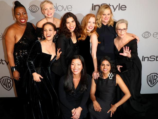Top left to right, Activist Tarana Burke, actors Natalie Portman, Michelle Williams, America Ferrera, Jessica Chastain, Amy Poehler, Meryl Streep. Bottom left to right: activists Ai-jen Poo and Saru Jayaraman at the 2018 InStyle and Warner Bros. 75th Annual Golden Globe Awards Post-Party. Picture: Joe Scarnici/Getty Images for InStyle.