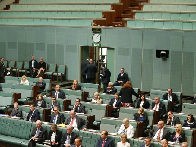 A group of Liberal MPs left the chamber during Bill Shorten's speech. Picture: Gary Ramage