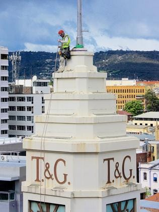 Brian Burford atop Hobart's T&G tower. Picture: RICHARD GERATHY