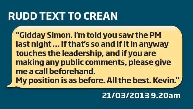 Kevin Rudd's text to Simon Crean on Thursday morning, before the disastrous ALP spill call