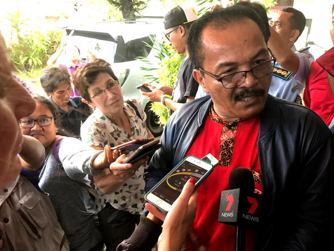 Surung Pasaribu, head of corrections, talks to media at the Bali Parole Office in Denpasar. Picture: Nathan Edwards