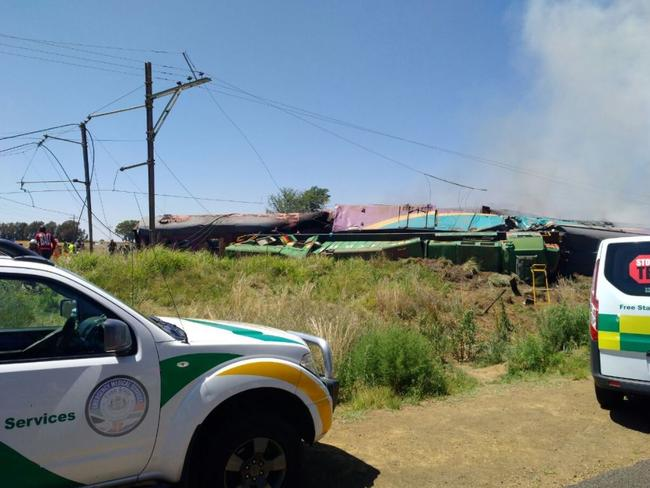 A train crashed into vehicles in central South Africa near Kroonstad city in Free State province. Picture: ER24EMS/Twitter
