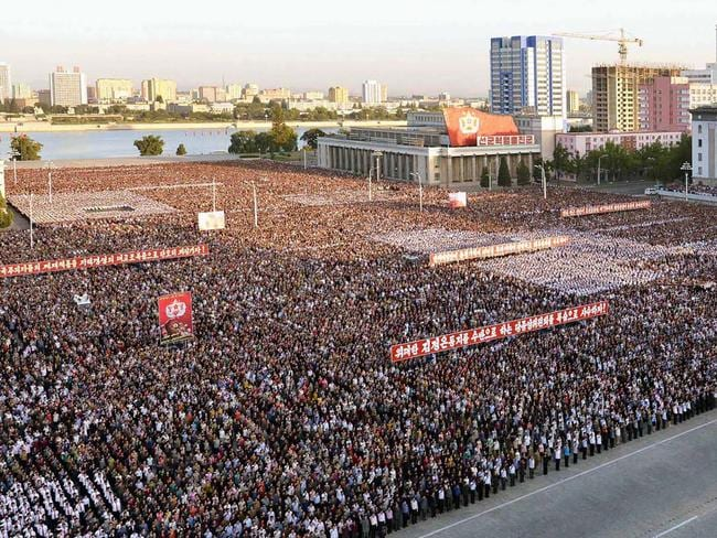 Tens of thousands North Koreans took part in an anti-US rally over the weekend. Picture: AFP/KCNA via KNS/STR