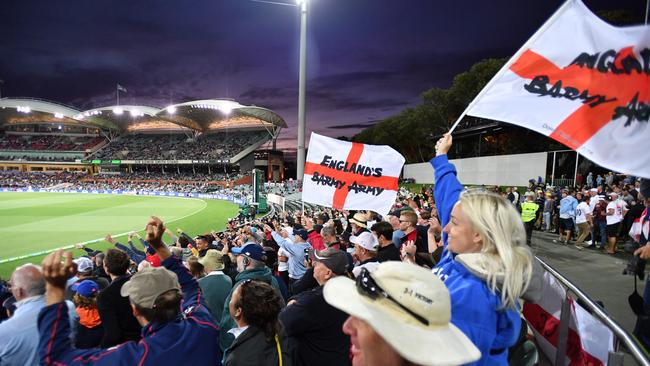 England's Barmy army at the Adelaide Oval. Picture: AAP / David Mariuz