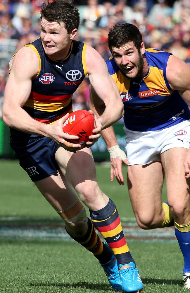 Patrick Dangerfield in full flight against West Coast. Picture: Sarah Reed