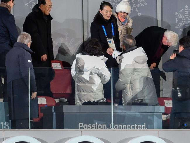 North Korea's Kim Jong-un's sister Kim Yo Jong (C) shakes hand with South Korea's President Moon Jae-in during the opening ceremony of the Pyeongchang 2018 Winter Olympic Games at the Pyeongchang Stadium. Picture: AFP