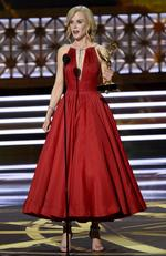 """Nicole Kidman accepts the award for outstanding lead actress in a limited series or a movie for """"Big Little Lies"""" at the 69th Primetime Emmy Awards on Sunday, Sept. 17, 2017, at the Microsoft Theater in Los Angeles. Picture: AP"""