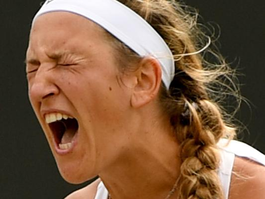 LONDON, ENGLAND - JULY 10:  Victoria Azarenka of Belarus reacts during the Ladies Singles fourth round match against  Simona Halep of Romania on day seven of the Wimbledon Lawn Tennis Championships at the All England Lawn Tennis and Croquet Club on July 10, 2017 in London, England.  (Photo by Shaun Botterill/Getty Images)
