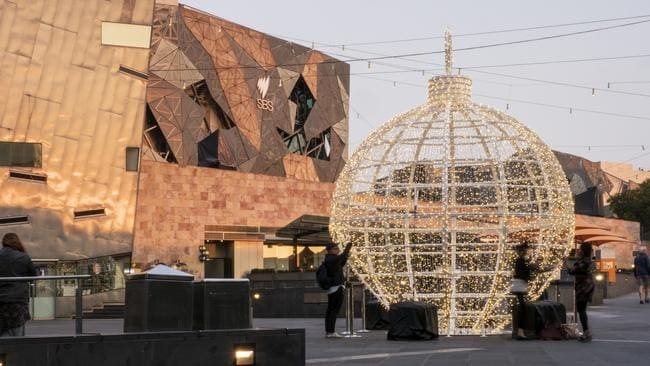 The Christmas bauble in Federation Square. Picture: City of Melbourne