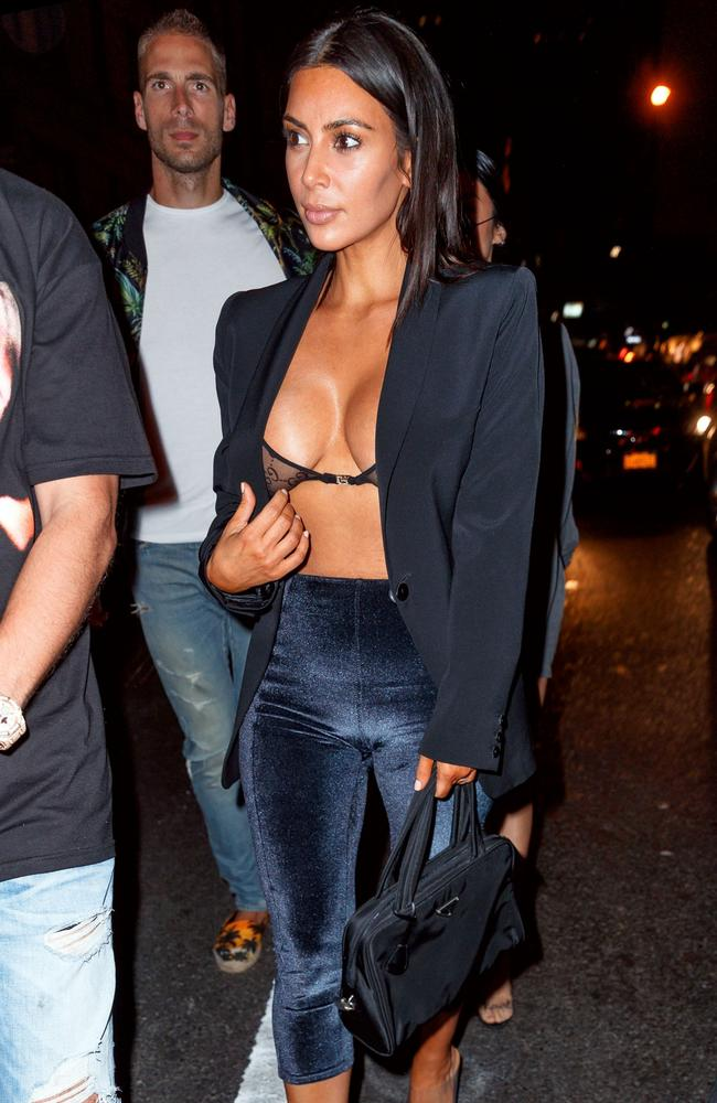 Her Gucci bra was completely sheer, covered only by her blazer. Picture: Splash