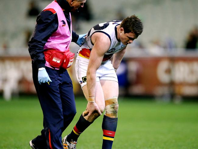 Adelaide midfielder Patrick Dangerfield injured his knee against Collingwood. Picture: Wayne Ludbey
