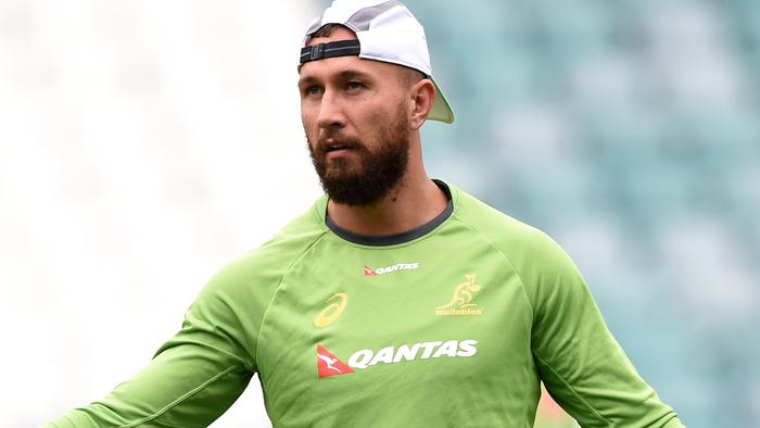 Australian rugby union player Quade Cooper takes part in a training session in Sydney on Tuesday, Aug. 23, 2016. The Wallabies will play the New Zealand All Blacks in the second match of the Bledisloe Cup series in Wellington, New Zealand, on Saturday. (AAP Image/Paul Miller) NO ARCHIVING