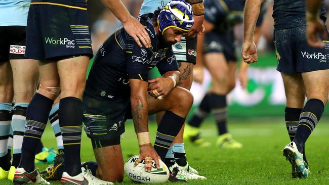 Johnathan Thurston can't hide his disappointment during the Cowboys' defeat. Picture: Gregg Porteous