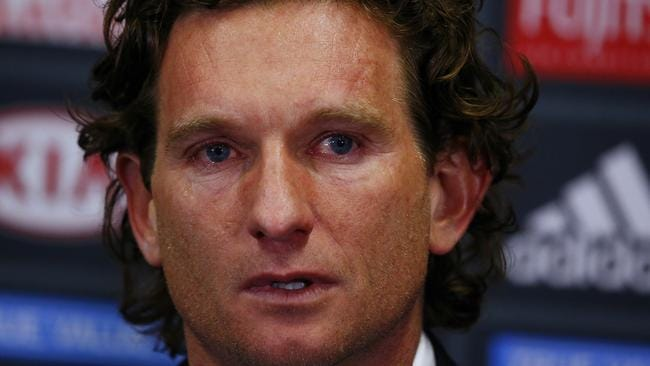 James Hird sheds a tear at the press conference announcing he would no longer be coach of Essendon. Picture: Wayne Ludbey