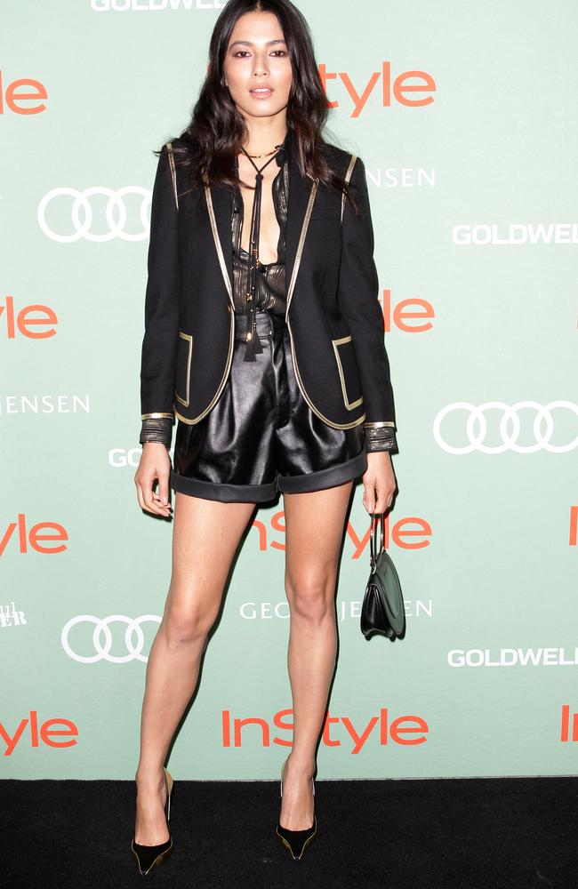 Jessica Gomes rocks a pair of leather shorts, sheer blouse and blazer at the InStyle and Audi Women Of Style Awards. Picture: Christian Gilles