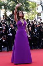 "Salma Hayek waves as she arrives for the screening of the film ""Carol"" at the 2015 Cannes Film Festival in Cannes. Picture: AFP"