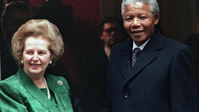 Nelson Mandela with then British Prime Minister Margaret Thatcher in 1990. Picture: AFP