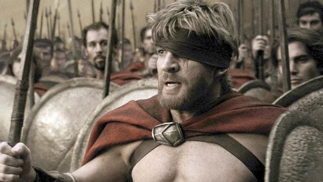 "Actor David Wenham in scene from film ""300""."