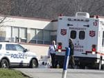 Emergency responders gather in the parking lot of the high school on the campus where several people were stabbed at Franklin Regional High School on Wednesday, April 9, 2014, in Pittsburgh. Picture: AP Photo/Keith Srakocic