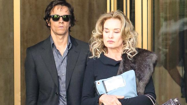 Cool as a cucumber ... with Jessica Lange on the set of The Gambler. Picture: Splash