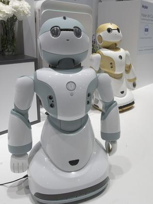 Now an asset ... newly unveiled Haier Ubot household robots at the Consumer Electronics Show. Picture: AFP